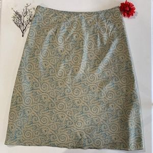 J Crew 100% Silk Sage Tan Print Skirt 10